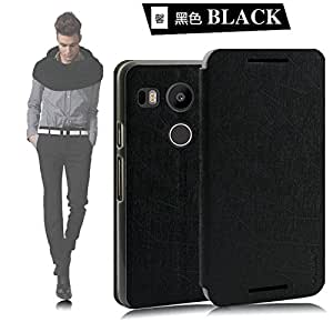 Tarkan Rain PU Leather Slim Flip Cover Case with Convertible Back Stand For New LG Google Nexus 5X 2015 (Black)