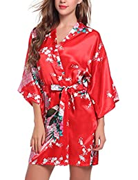 ADORNEVE Women's Short Peacock Blossoms Kimono Robe Bathrobe Nightwear