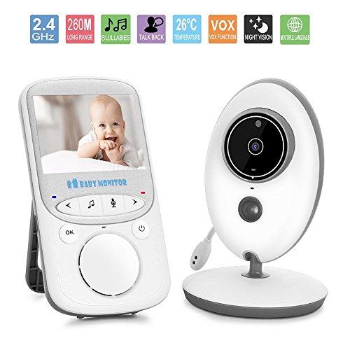 Baby-Monitor, 2.4 'Video-Baby-Monitor mit Nachtsicht, Zwei-Wege-Gespräch, Temperaturüberwachung & Eingebaute Lullabies-Upgraded (2,4Zoll)