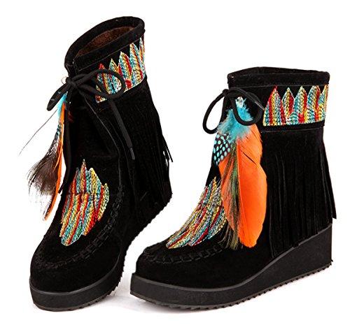 YE Damen Wedge Keilabsatz Plateau Wildleder Schnür stiefeletten mit Fransen 5CM Heels Gestickte Feder Dicke Sohle Indian Style Herbst Winter Schuhe Schwarz
