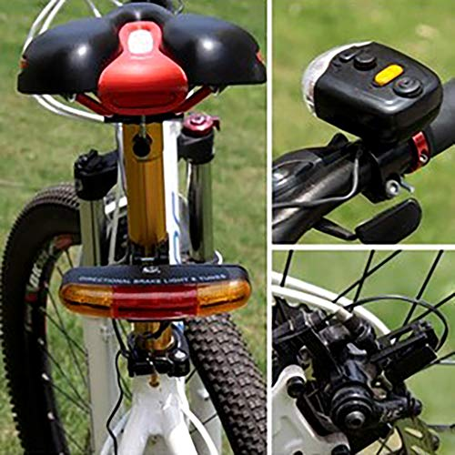TING529 Fahrrad Front Lichter Rückleuchte Set, Fahrradrücklicht Fahrradbeleuchtung Frontlichter Rücklichter Set weißes Licht,Fahrrad Licht mit 1 Fahrrad Blinker Brems LED Licht mit Hupe (Schwarz)