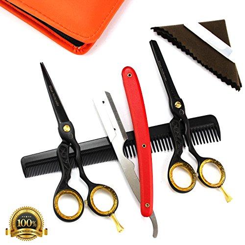 professional-hairdressing-scissors-hair-thinning-scissors-55-inch-deep-black-case