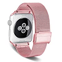 Smart Watch Band Compatible for Apple Watch Band 38mm 40mm, Miya Stainless Steel Mesh Watchband with Adjustable Clasp Replacement Wrist Loop Strap for iWatch Series 1/2/3/4 (38mm 40mm,Rose Gold)