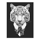 Stampa su Tela Animale,Nero Bianco Tigre Mafia Testina di Stampa Foto su Tela Wall Art Hippie Photo Poster per Soggiorno Sala Kid Moderno Bar Home Decor E Dipinti,12X16 Pollici(30Cmx40Cm)