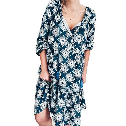 AMUSTER Sommerkleid Damen Casual Langes T-Shirt Kleid Mode Frauen Plus Size V-Ausschnitt Bandage Kurzes Kleid mit Quasten (Kleid Shirt Frauen Plus Size Für)
