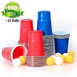 MOZOOSON Gobelet jetables Rouges et Bleues 16oz 473ml 100 Pièces - Idéal pour Jeu Américain de Beer Pong - avec 10 Balls de Ping-Pong
