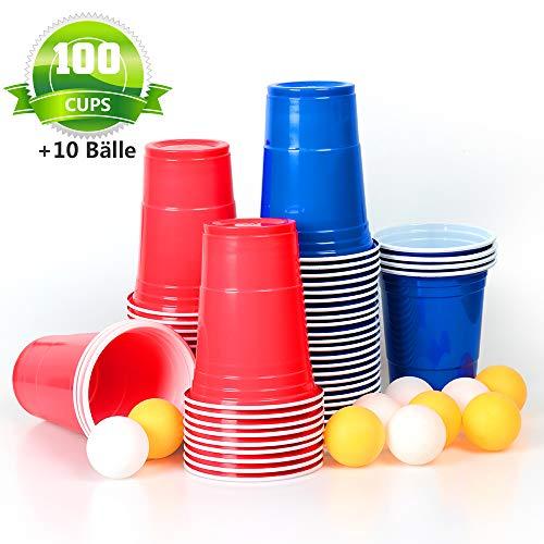 100x Trinkbecher Beer Pong Becher Partybecher Set Plastikbecher Rot und Blau 473ml Bier Pong Cups mit Bällen, 16oZ für Getränke Party Camping Cocktail Bier Neues Jahr Weihnachten Geburtstag Festivals