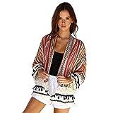 DEELIN CáRdigan Flojo del Kimono del Chal Flojo De Las Mujeres Camisa De La Camisa De Costura A Rayas (M, Rojo)