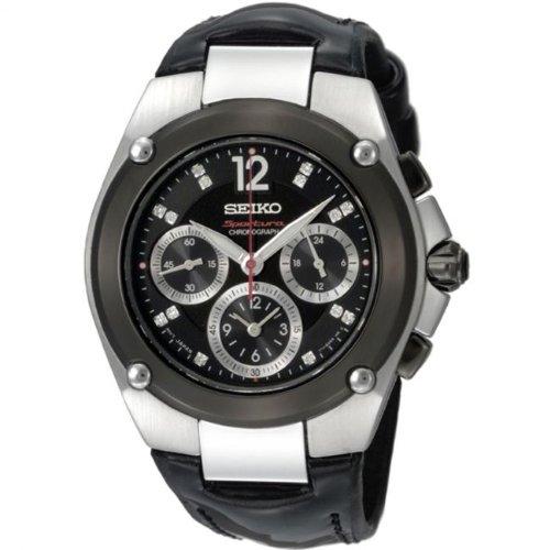 Seiko Damen Chronograph Quarz Uhr mit Leder Armband SRW899P1