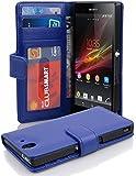 Cadorabo Hülle für Sony Xperia Z - Hülle in Neptun BLAU – Handyhülle mit 3 Kartenfächern - Case Cover Schutzhülle Etui…
