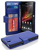 Cadorabo Hülle für Sony Xperia Z Hülle in NEPTUN blau Handyhülle mit 3 Kartenfächern Case Cover Schutzhülle Etui Tasche Book Klapp Style Neptun-Blau