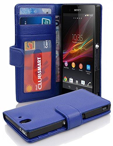 Preisvergleich Produktbild Cadorabo Hülle für Sony Xperia Z Hülle in NEPTUN blau Handyhülle mit 3 Kartenfächern Case Cover Schutzhülle Etui Tasche Book Klapp Style Neptun-Blau