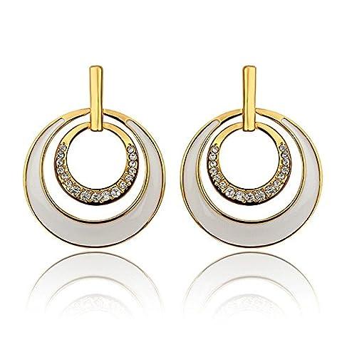 nykkola Fashion Jaune 18K plaqué or Boucles d'oreilles Swarovski Element Cristal avec double classique Créoles Pendantes