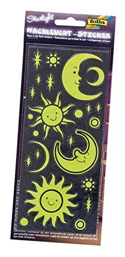 Folia 1461-Noche Bombilla Pegatinas Star Light, Aprox. 10x 23cm, 2Hojas, diseños Variados
