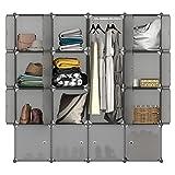 LANGRIA Regalsystem Kleiderschrank 16 Kubus Garderobenschrank für Aufbewahrung Kleidung, Schuhe, Spielzeug und Bücher (Grau)