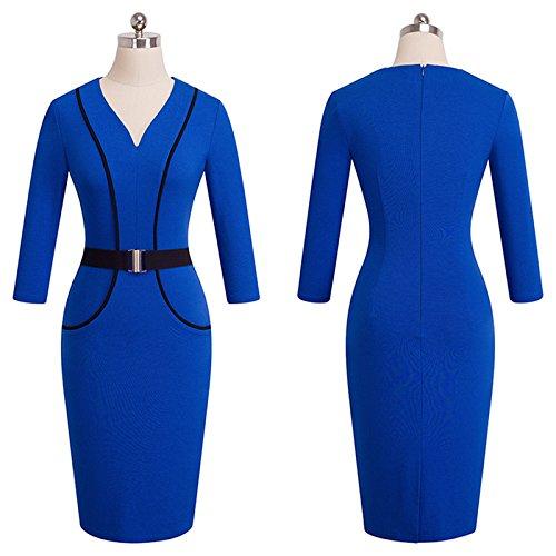 Royal Blau Formale Kleider (YELINGYUE Büro Frauen V-Ausschnitt, 3/4-Ärmel Mit Gürtel Blau Semi-Formale Kleider Knielang, Royal Blau, XL)