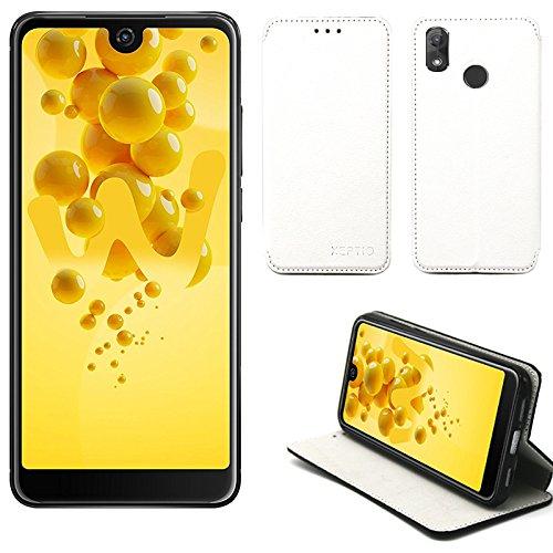 XEPTIO Wiko View 2 Hülle Tasche Leder Weiß Cover mit Stand - Zubehör Etui View2 Dual Sim Flip Case Schutzhülle Smartphone 2018 (PU Leder, Handytasche Weiss White) Accessories