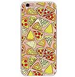 Freessom Coque iPhone 5/5s Silicone Transparente Motif Nourriture Pizza Dessin Jaune...