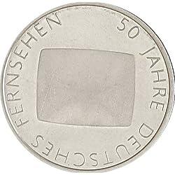 """DEUTSCHLAND / GERMANY / ALLEMANGE 10 EUROMÜNZEN GEDENKMÜNZEN """" 50 Jahre Deutsches Fernsehen """" 2002 - PRÄGESTÄTTE : G - ERHALTUNG : PP - POLIERTE PLATTE - 925er SILBER - in original Münzkapseln 32,5 randlos"""