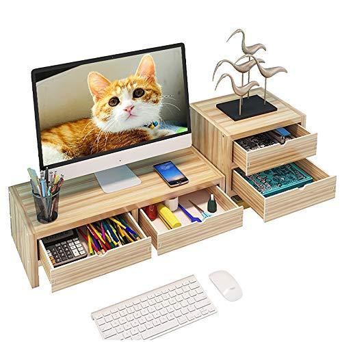 Desktop-Monitorständer Riser Mit Aufbewahrungsorganisator, Home-TV-Computerbildschirm-Vergrößerungsregal Mit Schubladen, Desktop-Aufbewahrungsregal (Color : Wood Color, Size : 4 Drawers) -