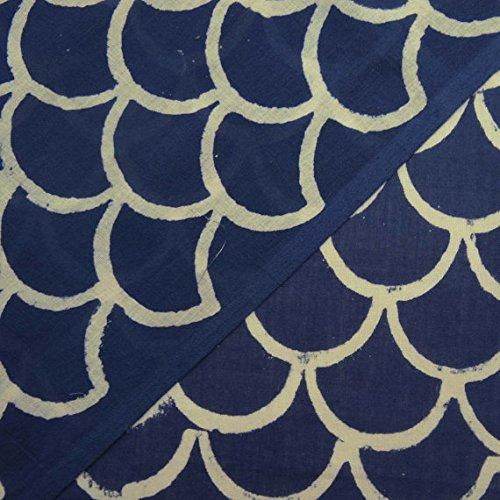 handicraftofpinkcity Indigo Stoff aus Indien, Batik Stoff, Baumwolle Stoff, Block bedruckter Stoff, indigo blau Gemüse Dye Baumwolle Stoff 5Meter