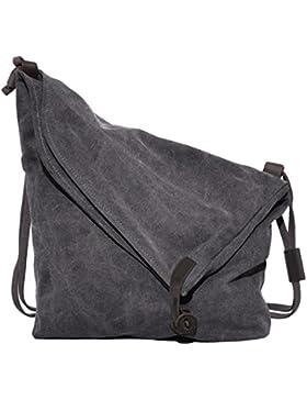 Canvas Tasche,Coofit Unisex Canvas Umhängetasche Retro Schultertasche Messenger Tasche