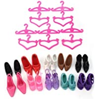 10 or 24 Pairs Of Quality Fashion Shoes High Heels Sandals & Pink Hangers For Barbie Sindy Doll (Not Mattel) Outfit Dress Toys posted from London by Fat-catz