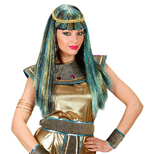 Moderne Cleopatra Perücke Strähnchen Langhaarperücke Cosplay Damenperücke Moderne Ägypterin Kunsthaar Glitzer Faschingsperücke Kleopatra Römerin Karnevalsperücke