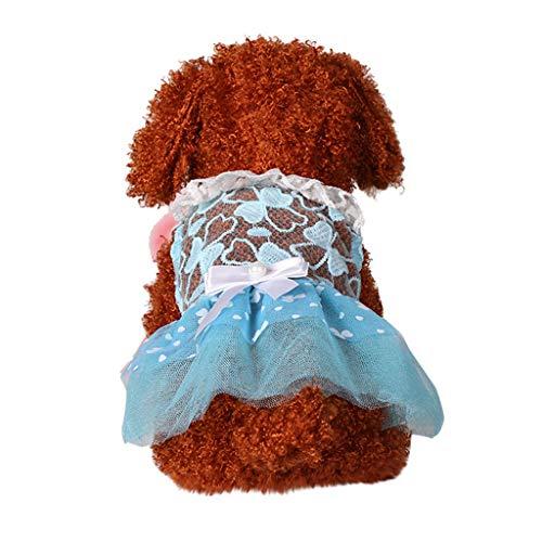 YWLINK Haustier Hund Katze Atmungsaktiv Bequem Spitze Sommer Prinzessin Kleid Mit Bogen Elegant Party Kleidung Pet(XS,Blau)