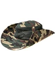 Accessoryo - Estampado De Camuflaje Del Ejército Marrón Malla Sombrero Del Estilo Del Safari