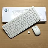 AlexVyan Mini Wireless Keyboard & Mouse Combo 24 GHz Set with Silicone Keyboard Cover (White)