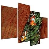 Kunstdruck - Unterwasserwelt II - 120x80 cm 4 teilig - Bilder als Leinwanddruck - Wandbild von Bilderdepot24 - Tierwelten - Leben im Meer - Meeresbewohner - Clownfische und Seeanemone
