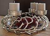Design Kerzenleuchter silber, massiv Metall Advents-Kranz zum Befüllen und Dekorieren Kerzenhalter Weihnachten und ganzjährig