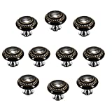 FBSHOP(TM) 10 Stück Schwarz Retro Stil Runde Keramik-Türknauf Türknopf Möbelgriffe für Schränke, Schubladen, Truhen, Schränke, Küche, Schlafzimmer, Badezimmer