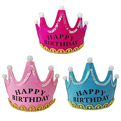 HOCAIES Baby Crown Hut glücklich Geburtstag LED Hut Mütze Gruß feiert Cosplay