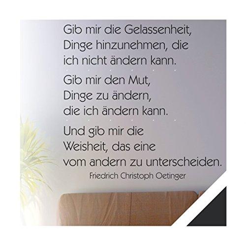 Exklusivpro Wandtattoo Wand-Spruch Gib mir die Gelassenheit. mit SWAROVSKI (zit32 schwarz) 80 x 71cm mit Farb- u. Größenauswahl