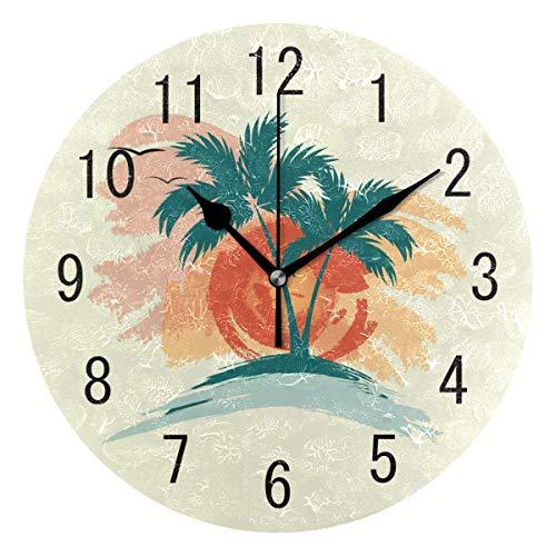 Use7 Home Decor Vintage Tropical Summer Palm Tree Sun Runde Acryl Wanduhr Non-Ticking Silent Clock Art für Wohnzimmer Küche Schlafzimmer