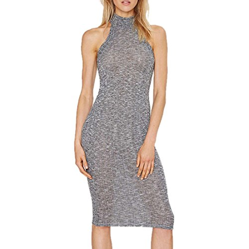 Women Winter/Fall One-piece Sweater Dress Sexy Standcollar Off Shoulder Slim Gray