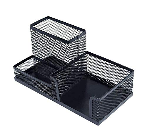 TECHSUN 3 Compartments Pen-Pencil Stationary Storage Stand Desk Organizer for Home Office Table, Pen Stand (Metal Mesh)