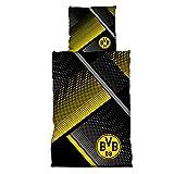 Borussia Dortmund BVB Bettwäsche mit Punkten, Baumwolle, Schwarz/Gelb / Grau, 155 x 220 x 2 cm