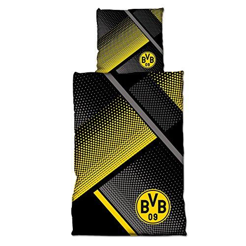 Knöpfen Kissen Mit Gelbe (BVB Bettwäsche mit Punkten, Baumwolle, Schwarz / Gelb / Grau, 155 x 220 x 2 cm)