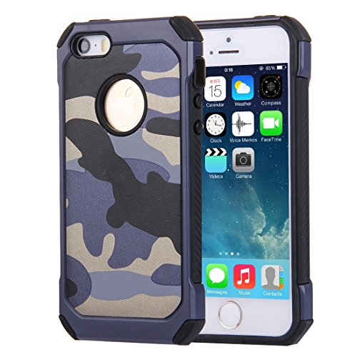 JING Pour iPhone 5 & 5s & SE Camouflage Patterns Tough Armor PC + Silicone Combination Case ( Color : Brown ) Dark Blue