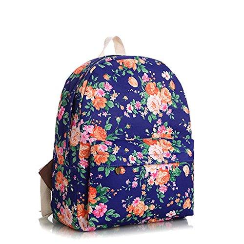 OUFLY Deep Blue & Plum Flower Vintage bedruckte Blumensegeltuch Rucksack Schule Laptop Tasche Outdoor Knapsack Tasche für Frauen Mädchen Jugend Marineblau u. Orange Blumen