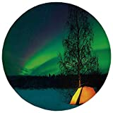 ZHIZIQIU Round Rug Mat Carpet,Northern Lights,Camping Tent Under Magnetic Field Nature Picture,Lime Green Dark Blue Earth Yellow,Flannel Microfiber Non-Slip Soft Absorbent,for Kitchen Floor Bathroom