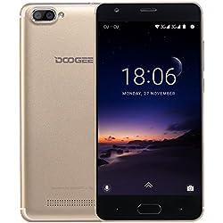 Moviles Libre, DOOGEE X20 Moviles Libres Baratos, 3G Smartphone Android 7.0 - MT6580 mali-400 Quad core - 5.0 Pulgadas HD IPS Pantalla - 16GB ROM - 5MP Cámara - Dual SIM - Batería de 2580mAh (Oro)
