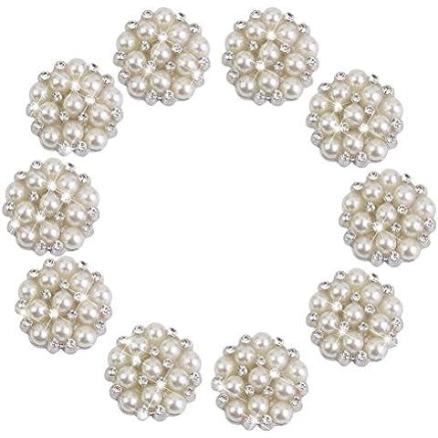 VORCOOL 10 Pezzi Bottoni Cristallo Strass Perla Fiore Fai Da Te Decorazioni (Argento)