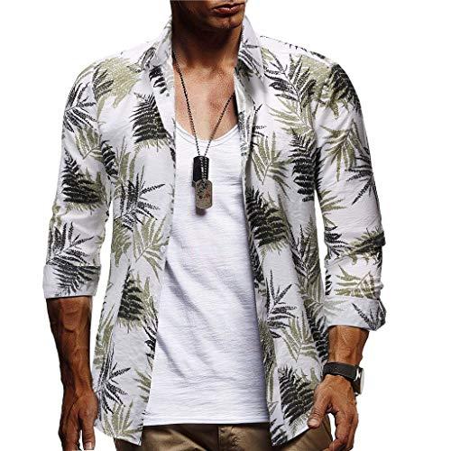 Herren Hemd Langarm Freizeithemd Urlaubshemd Hawaiihemd Männer Casual Button Hawaii Print Strand Hemden Quick Dry Tops CICIYONER