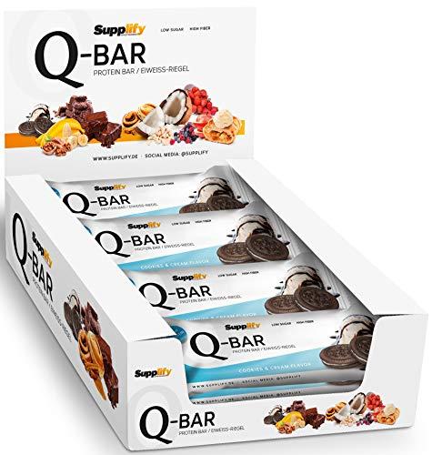 Protein Riegel Low Carb Q-Bar - Whey Isolat Proteinriegel Von Supplify Zum Abnehmen Oder Muskelaufbau - Cookies and Cream 24x 60g - ein echter power-bar als Proteinpulver und Eiweiß Shake Ersatz - Gainer Protein Weight Bars