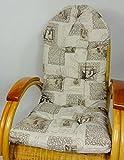 Auflage / Polster für Schaukelstuhl , Liegestuhl , Ersatzpolster Gr. 130 x 50 x 12 cm, Stoff Mirha Leinen London