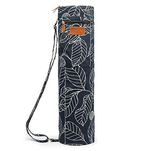 Yoga-Matte mit durchgehendem Reißverschluss von Elenture, Tragetasche mit Multifunktions-Aufbewahrungstaschen, Black Leaf